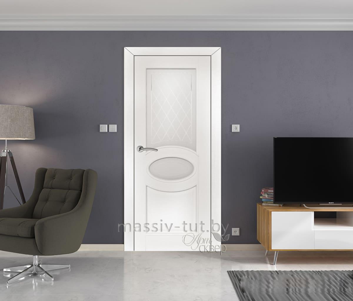 м26 дверь межкомнатная ПМЦ остекленная белая эмаль