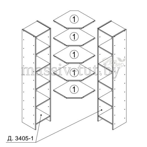 Полка угловая Комби Д3405-3, АртСквер, массив, мебель 2