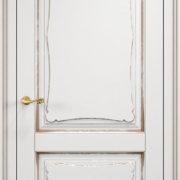 ол6-2 дверь глухая ПМЦ белая эмаль патина золото