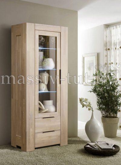 Шкаф с витриной «Фьорд 1» однодверный из массива дуба 5