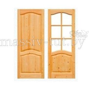 Двери из массива сосны не крашенные Поставский Мебельный Центр ПМЦ