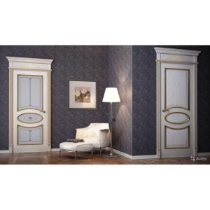 Набор для 1-комнатной квартиры, модель Symbol, массив ольхи, 60х200, 60х200, 70х200, покрытие - эмаль белый грунт+патина золото, 3 комплекта